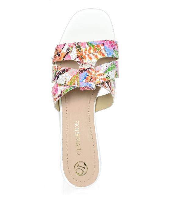 Pantofle s květinovým vzorem na stylovém podpatku DSL2120/3780