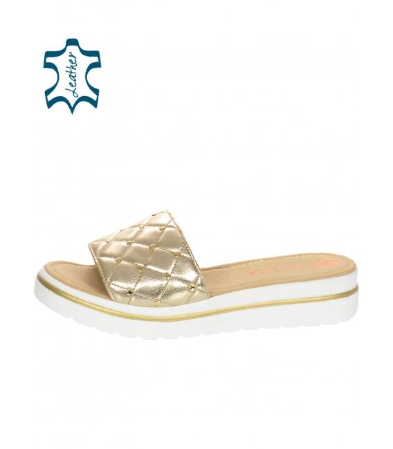 Bílé kožené pantofle na pohodlné podešvi DSL 3400