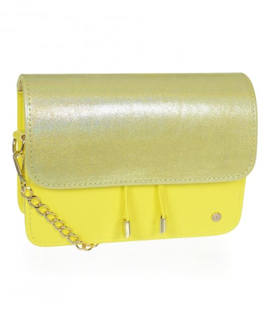 Béžovo-zlatá kabelka s kroko vzorom BOBI