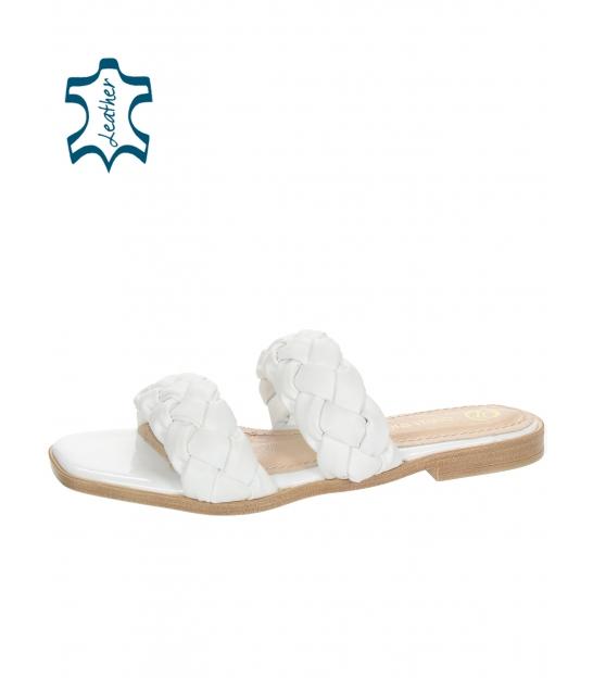 Biele kožené prepletané šľapky DSL2261