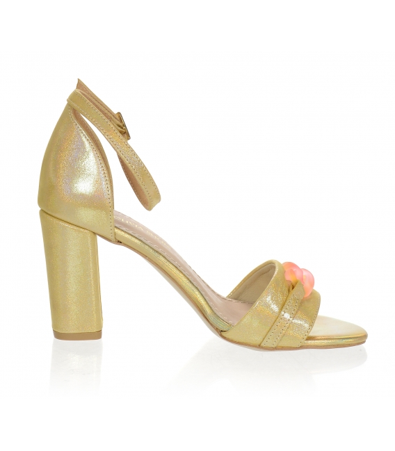 Fuxiové kožené sandály na vysokém barevném podpatku DSA2050