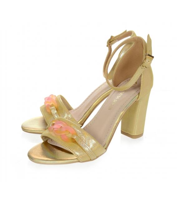 Žluto-zlaté kožené sandály na vysokém podpatku DSA2050