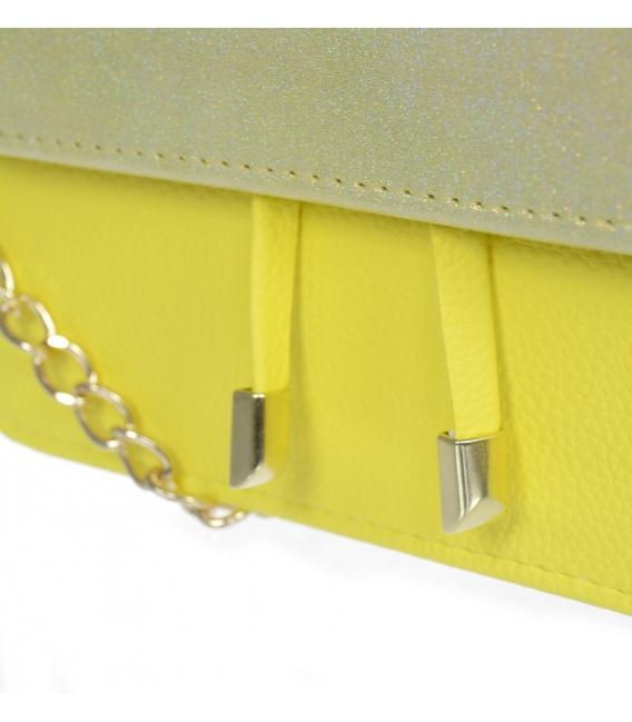 Žlto-zlatá hranatá kabelka BOBI