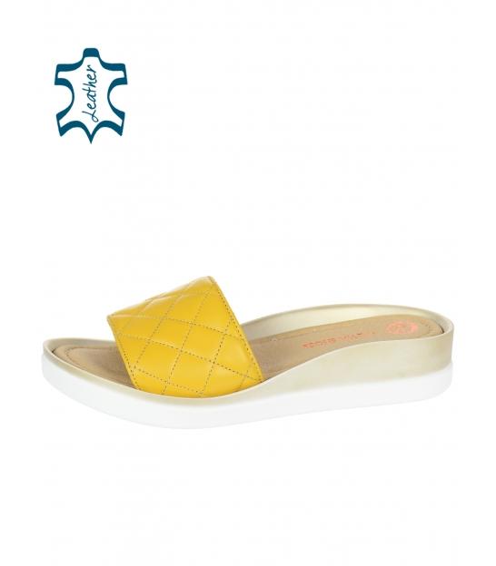 Žlté prešívané kožené šľapky na tvarovanej podošve DSL540 yellow lico