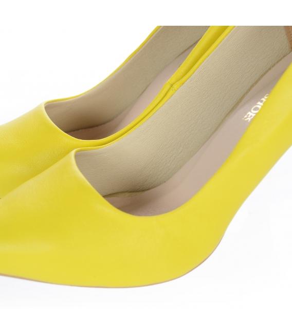 Žluté kožené jednoduché lodičky DLO944-861