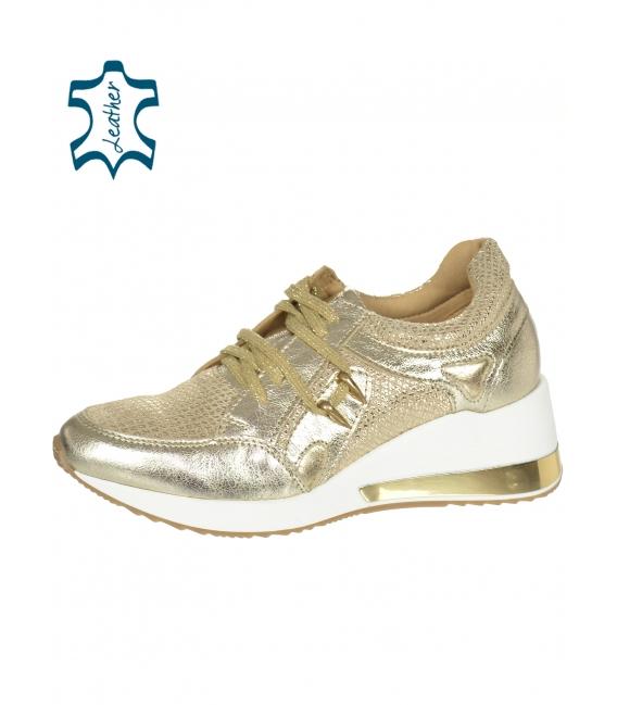 Zlaté kožené tenisky so zlatými doplnkami DTE3062