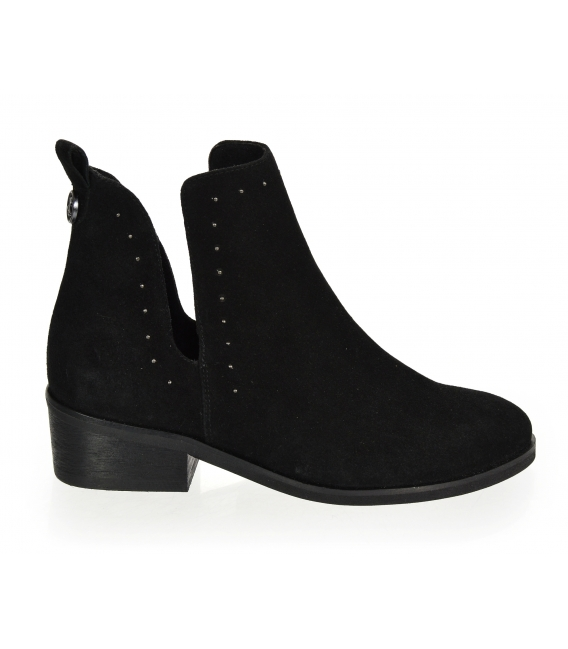 Black cut ankle boots made of brushed leather 2263