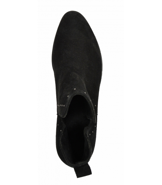 Čierne vykrojené členkové topánky z brúsenej kože 2263