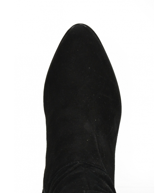 Čierne čižmy na vzorovanom bordovom podpätku 2268