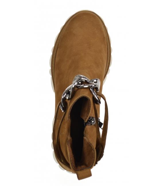 Hnedé členkové topánky na vyššej podošve s ozdobou 2305