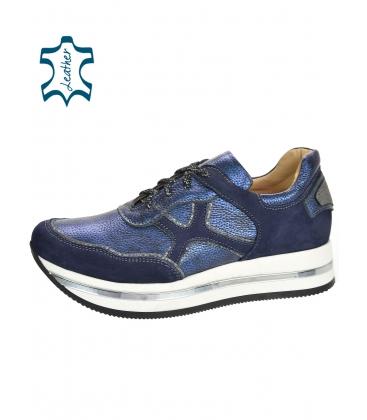 Modro-strieborné tenisky so vzorom na bielej podošve KARLA DTE3300
