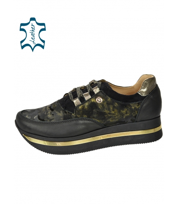 Black-green sneakers with camouflage pattern on a black sole KARLA DTE2118