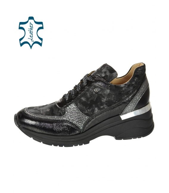 Black gray sneakers with a gray camouflage pattern on the sole TAMIRA DTE3307