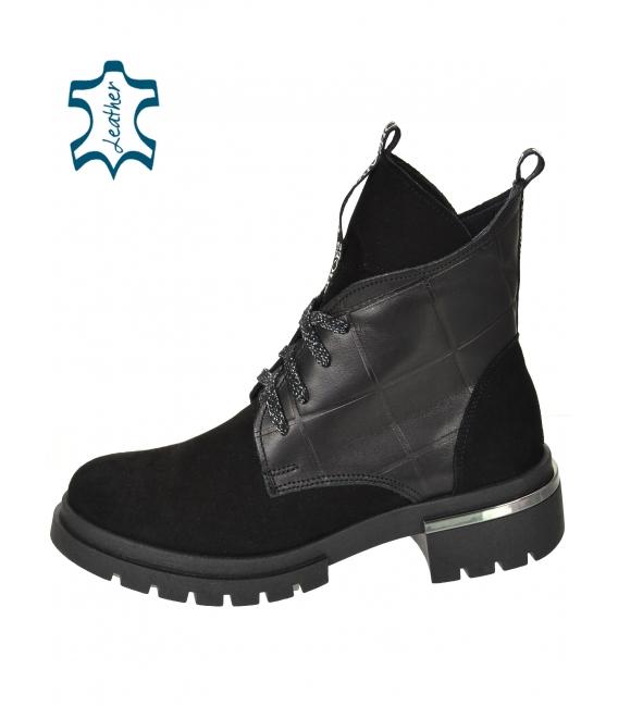 Čierne členkové topánky z brúsenej kože DKO3404