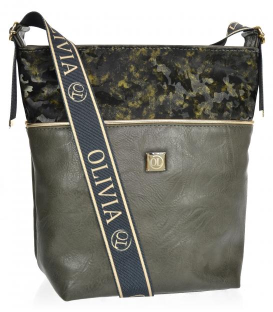 Blue larger crossbody handbag with camouflage pattern KALISTO