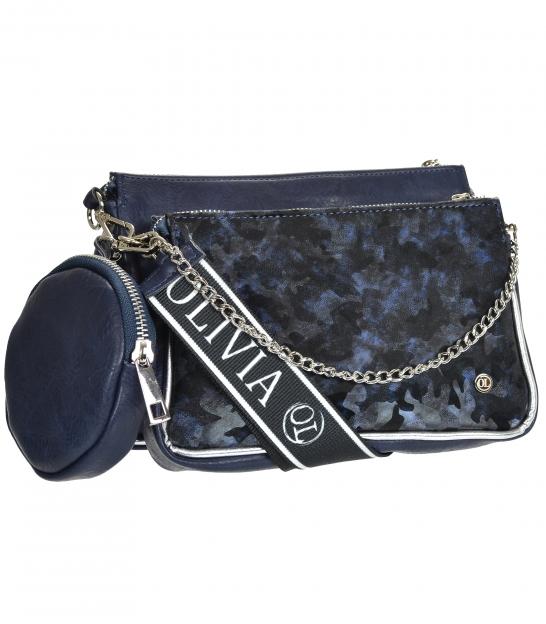 Modrá dvojkomorová crossbody kabelka s maskáčovým vzorom ANITA