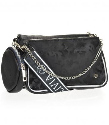 Čierna dvojkomorová crossbody kabelka s maskáčovým vzorom ANITA