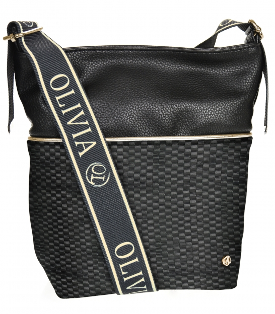 Čierna crossbody kabelka s 3D vzorom a zlatým lemom NINA