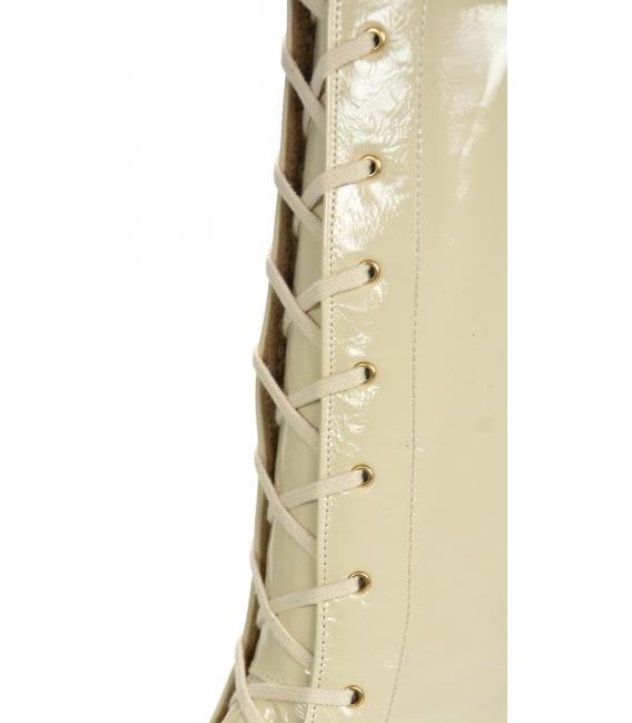 Béžovo-biele lesklé extravagantné workery DKO2264