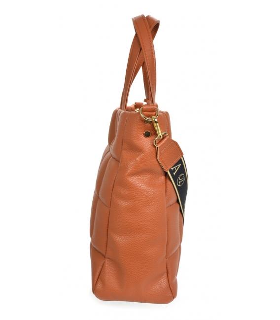 Veľká hnedá prešívaná kabelka ANDREA