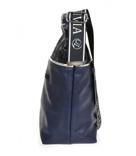 Modrá väčšia crossbody kabelka s maskáčovým vzorom KALISTO