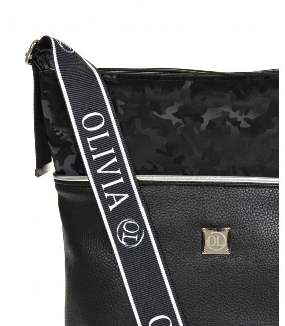 Čierna väčšia crossbody kabelka s maskáčovým vzorom KALISTO