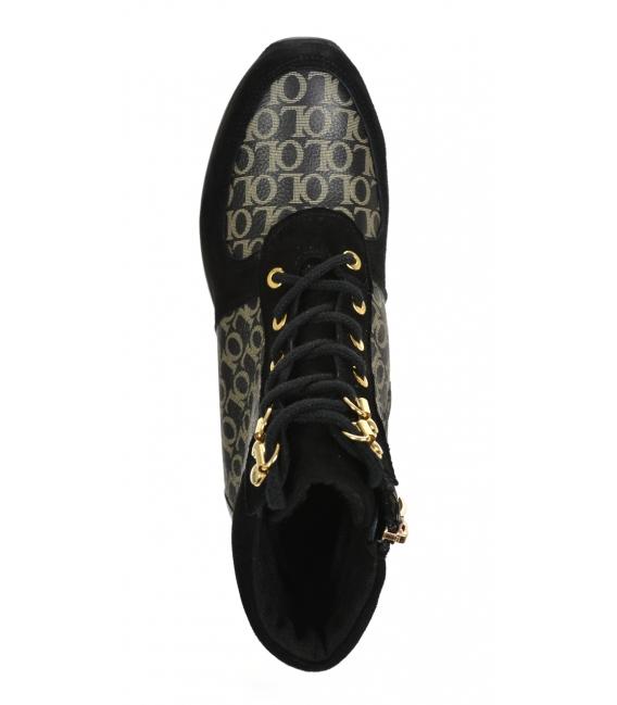 Zateplené čierno-zlaté tenisky s monogramom OL DKO2267
