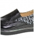 Black glossy slip-on sneakers with a silver OL monogram on the KARLA DTE3314 sole