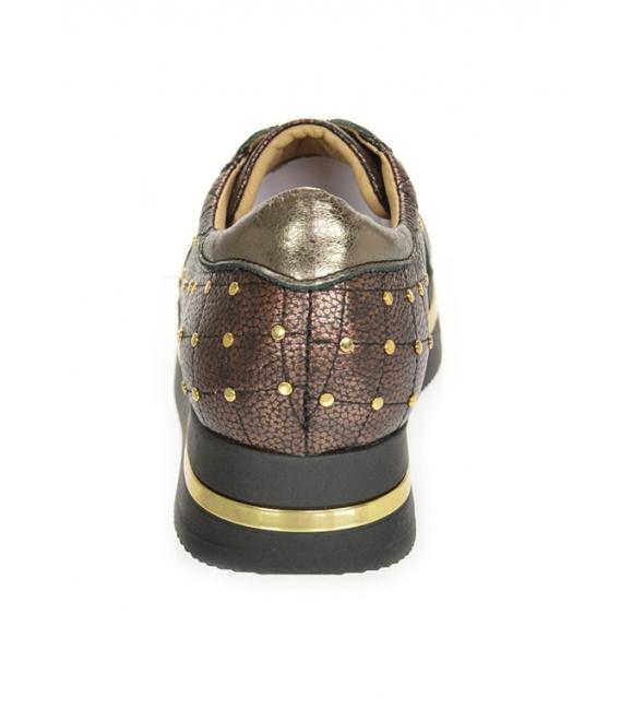 Hnedé tenisky so zlatými ozdobnými aplikáciami na podošve KARLA DTE3313