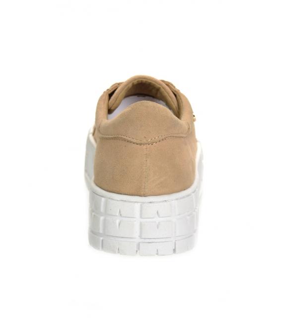Béžové tenisky z brúsenej kože na vysokej podošve HANZA DTE3402