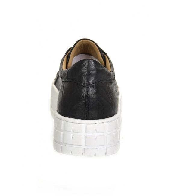 Čierne tenisky s pokrčeným vzľadom na vysokej podošve HANZA DTE3402
