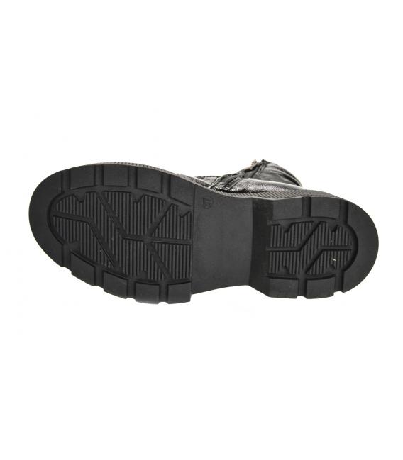 Čierne lesklé členkové čižmy s maskáčovým vzorom DKO3405