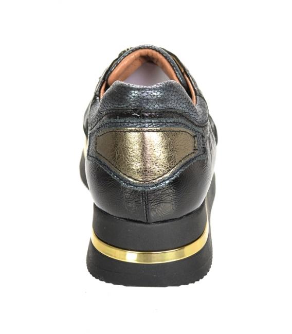 Čierno-sivé tenisky so vzorom na čierno-zlatej podošve KARLA DTE3300