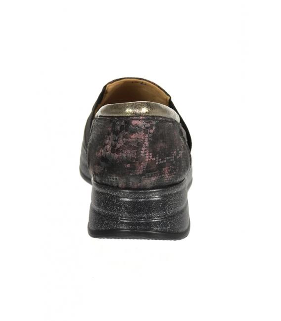 Čierno-bordové tenisky s jemným hadím vzorom DTE3064