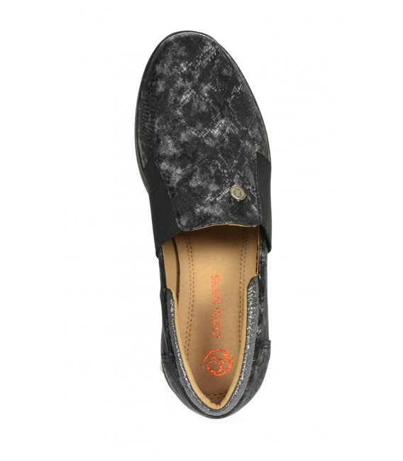 Black-grey sneakers with a fine snake pattern DTE3064