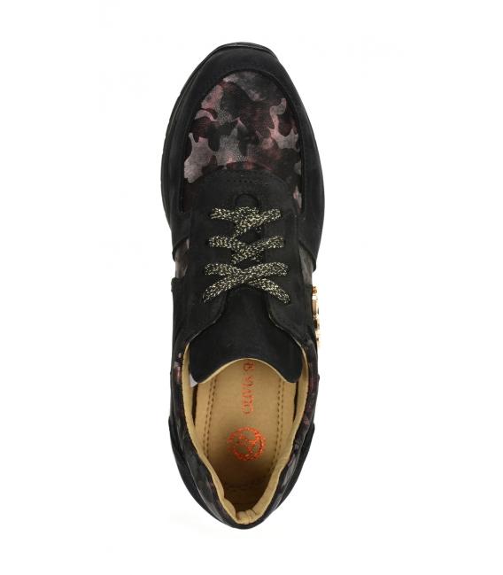 Čierne tenisky s bordovým maskáčovým vzorom na podošve TAMIRA DTE3307