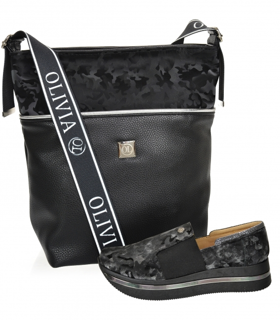 Discounted set of black-gray camouflage sneakers KARLA DTE3064 + Black handbag with camouflage pattern KALISTO