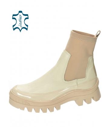 Béžové členkové čižmy s elastickým materiálom DKO2276