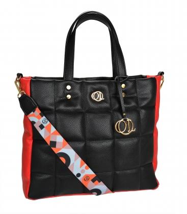 Veľká čierno-červená prešívaná kabelka so štýlovým farebným remienkom ANDREA