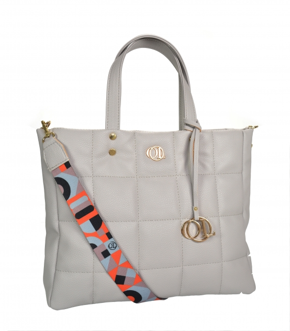 Large bgray quilted handbag with a stylish color strap ANDREA