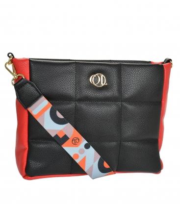 Čierno-červená prešívaná kabelka so štýlovým remienkom WANDA