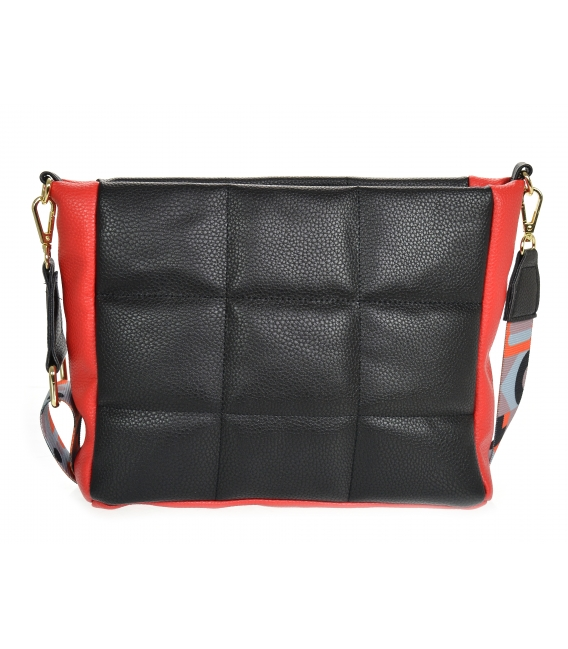 Black-red quilted handbag with a stylish strap WANDA
