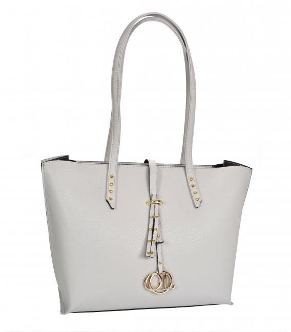 Sivá elegantná kabelka s dlhými rúčkami Laura