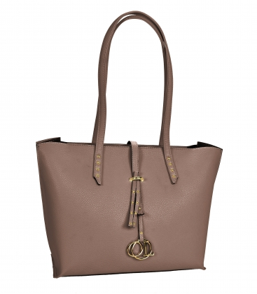Hnedo sivá elegantná kabelka s dlhými rúčkami Laura