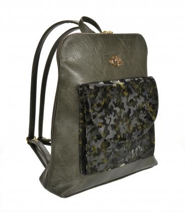 Zelený ruksak s maskáčovým predným vreckom Lucia