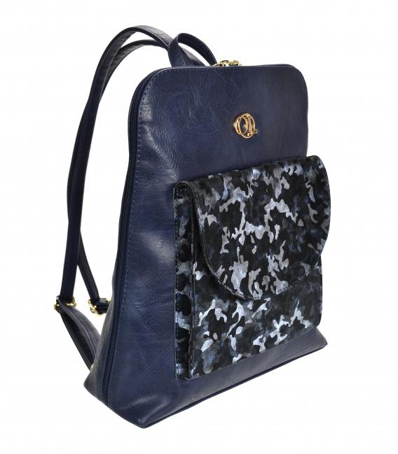 Modrý ruksak s maskáčovým predným vreckom Lucia