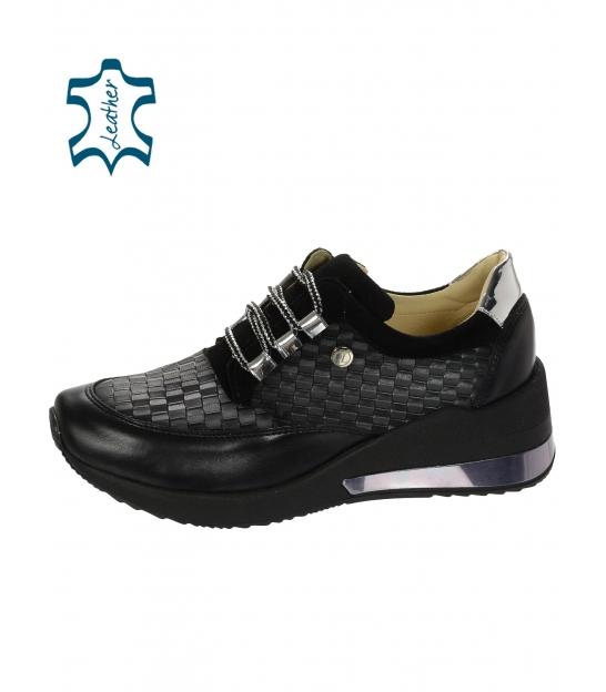 Čierne štýlové tenisky s prepletaným 3D vzorom DTE2118