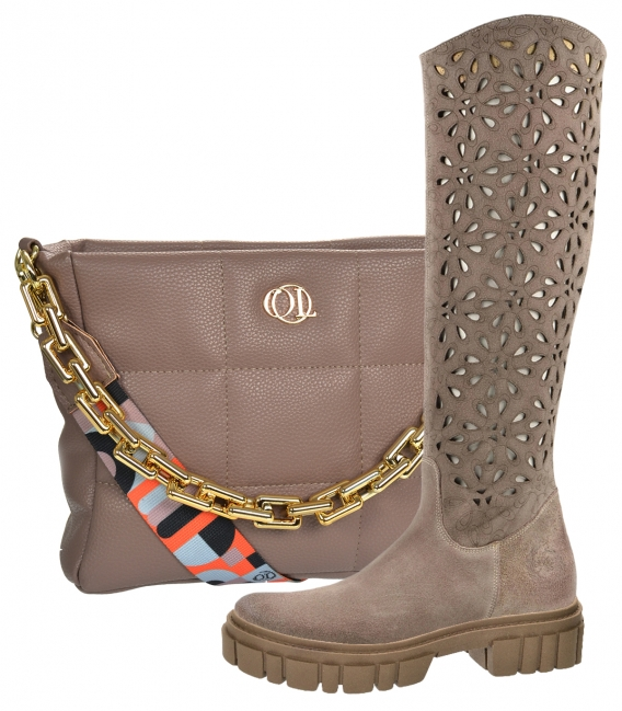 Discounted set of brown-gray boots with perforation on the brown sole CA145 + brown handbag Wanda