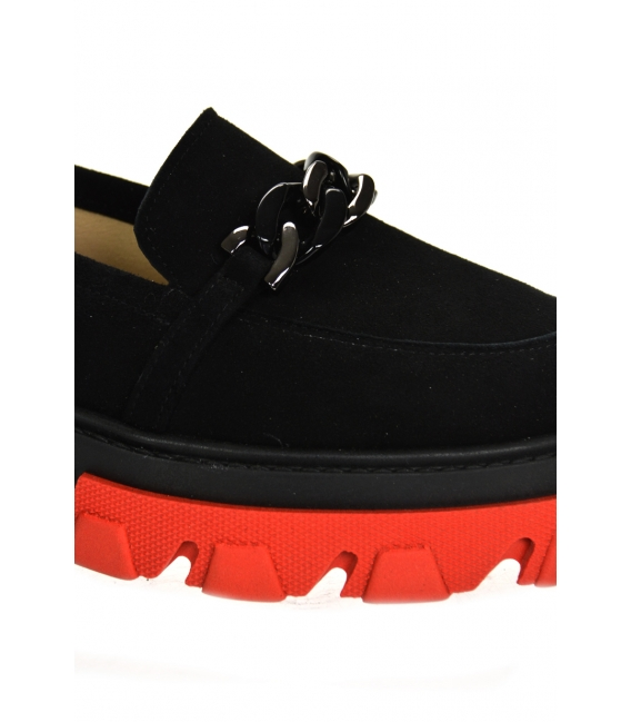 Black extravagant low shoes with chain DBA2268