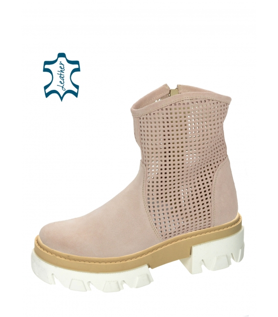 Nude perforated ankle boots on a beige-white sole Aria DKO6002